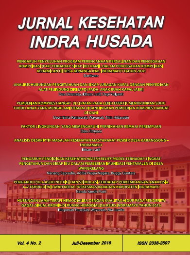 Jurnal Kesehatan Indra Husada Vol.4 No.2 Juli-Desember 2016
